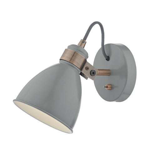 Dar FRE0739 Frederick 1 Light Wall Light Gloss Grey/Copper