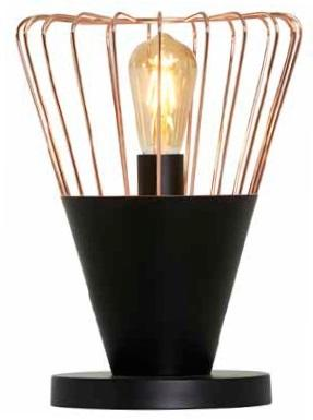 Glow Table Lamp with Black and Copper Shade
