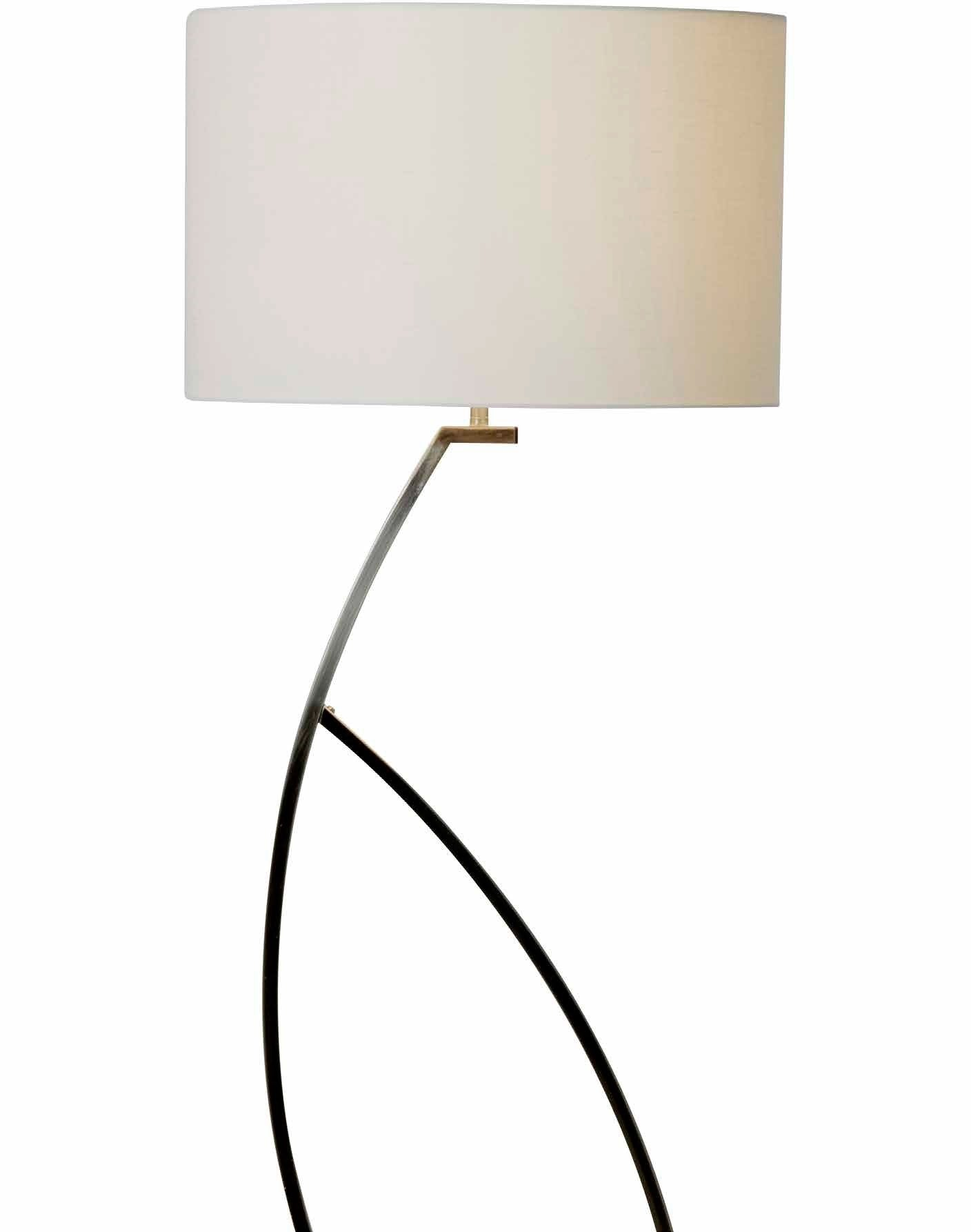 noble floor lamp in brushed chrome with a round shade available in
