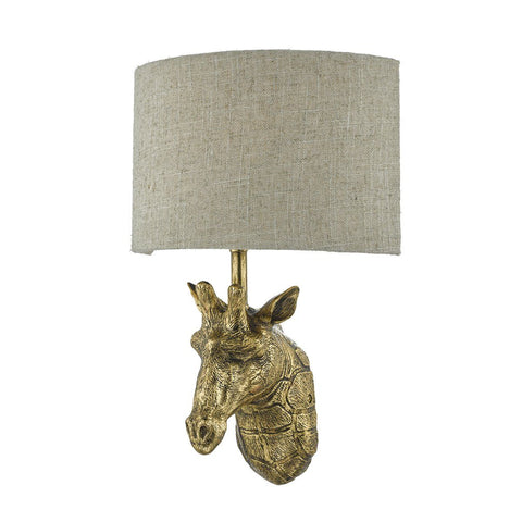 Dar SOP0735 Sophie 1 Light Wall Light Giraffe Gold With Shade