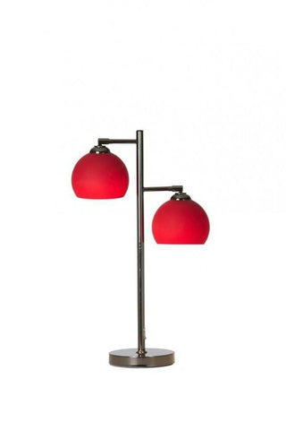 Ball 2 Table Lamp In Black Chrome With Coloured Glass Shades In 7 Finishes