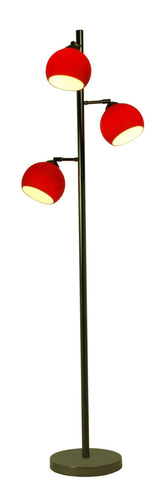 Ball 3lt Floor Lamp In Black Chrome With Coloured Glass Shades In 7 Finishes