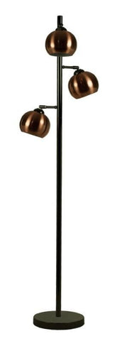 Ball 3lt Floor Lamp In Black Chrome With Metal Shades In 4 Finishes