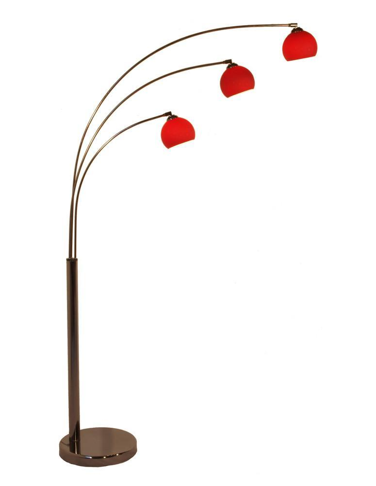 Bubble 3 Arc Floor Lamp In Black Chrome With Three Coloured Shades