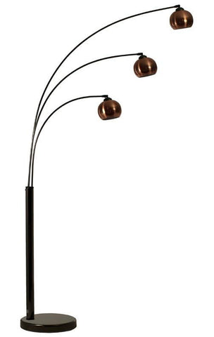 Bubble 3 Arc Floor Lamp In Black Chrome With Three Metal Shades