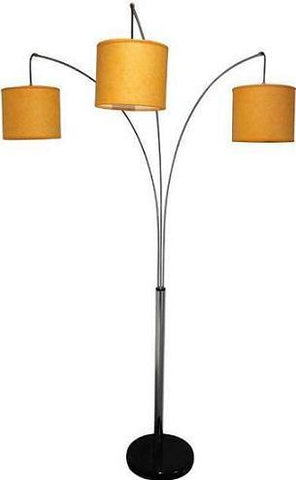 Cerberus Triple Light Arc Floor Lamp With Drum Shades