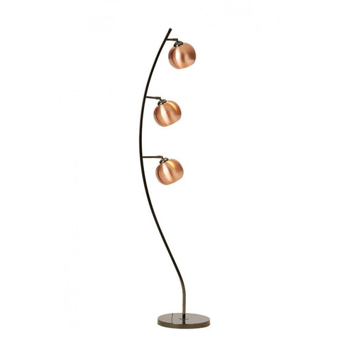 Cocoon 3lt Floor Lamp In Black Chrome With Coloured Glass or Metal Shades In 11 Finishes