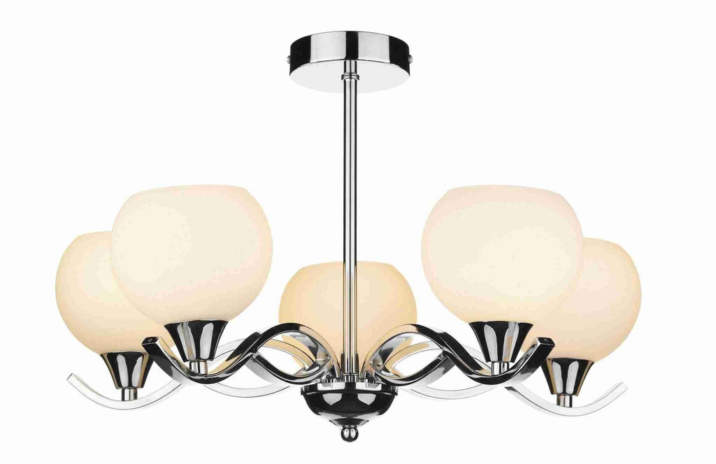 Dar ARU0550 ARUBA 5lt Semi Flush Polished Chrome-DC Lighting Ltd