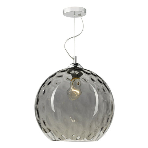 Dar AUL0110 Aulax 1 Light Pendant Smoked Dimple Effect