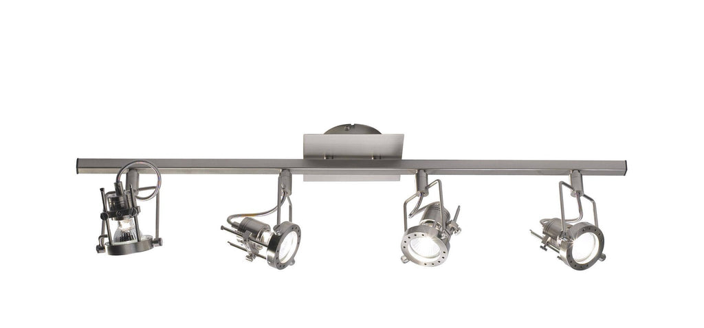 Dar BAU8446 BAUHAUS 4lt Spotlight Bar Satin Chrome GU10-DC Lighting Ltd