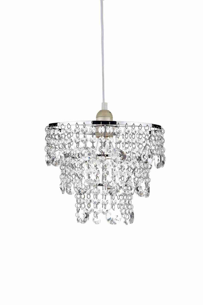 Dar CYB6550 CYBIL Chrome & Crystal Non-Electrical Pendant-DC Lighting Ltd