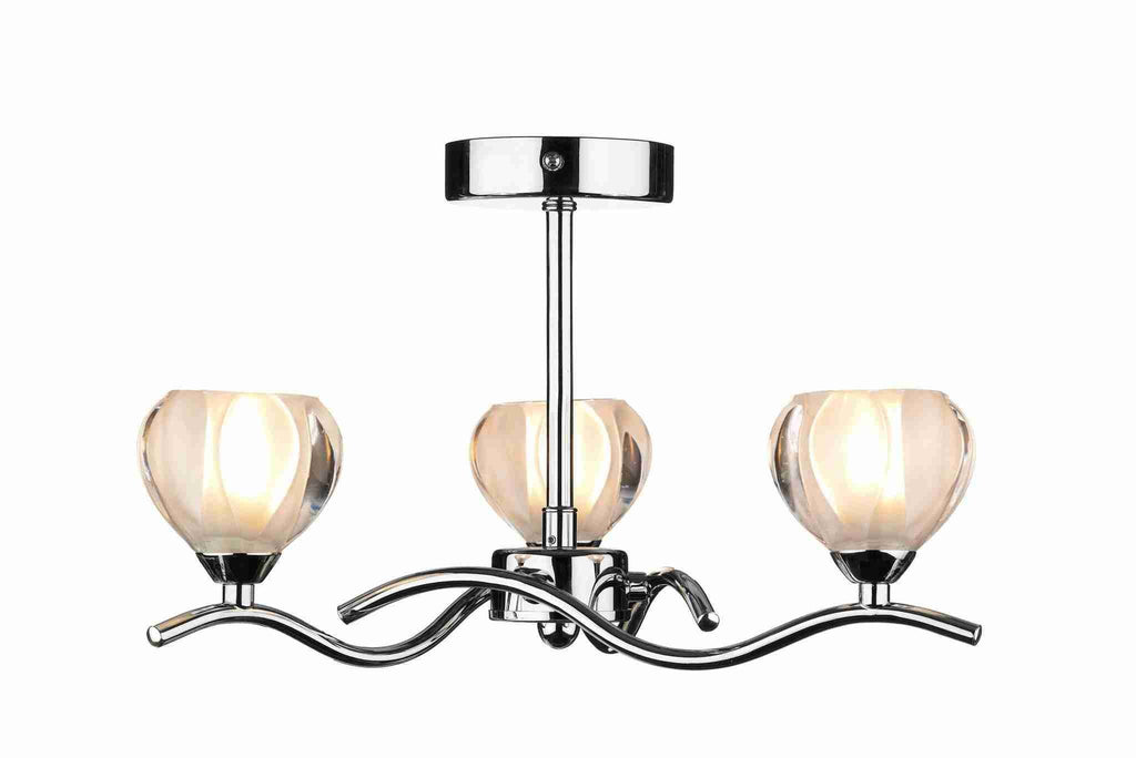 Dar CYN0350 CYNTHIA 3lt Semi Flush Polished Chrome-DC Lighting Ltd