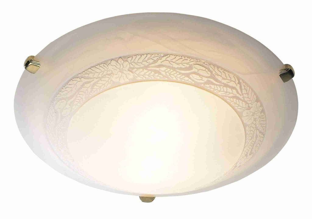 Dar DAM522 DAMASK 30cm Flush (White Glass)-DC Lighting Ltd