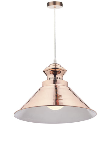 Dar DAU0164 Dauphine 1 Light Pendant Copper