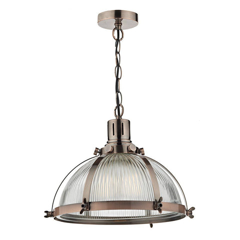 Dar DEB0164 Debut 1 Light Pendant Brushed Antique Copper