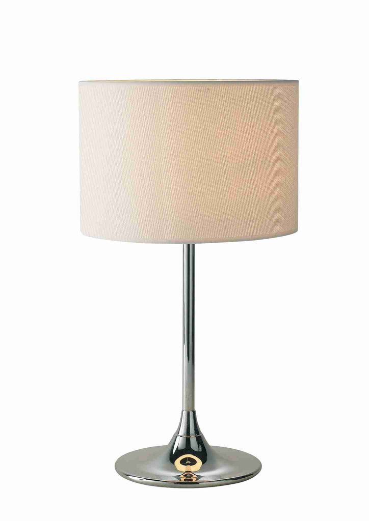Dar DEL4250 DELTA Table Lamp Chrome With Ivory Woven Shade-DC Lighting Ltd