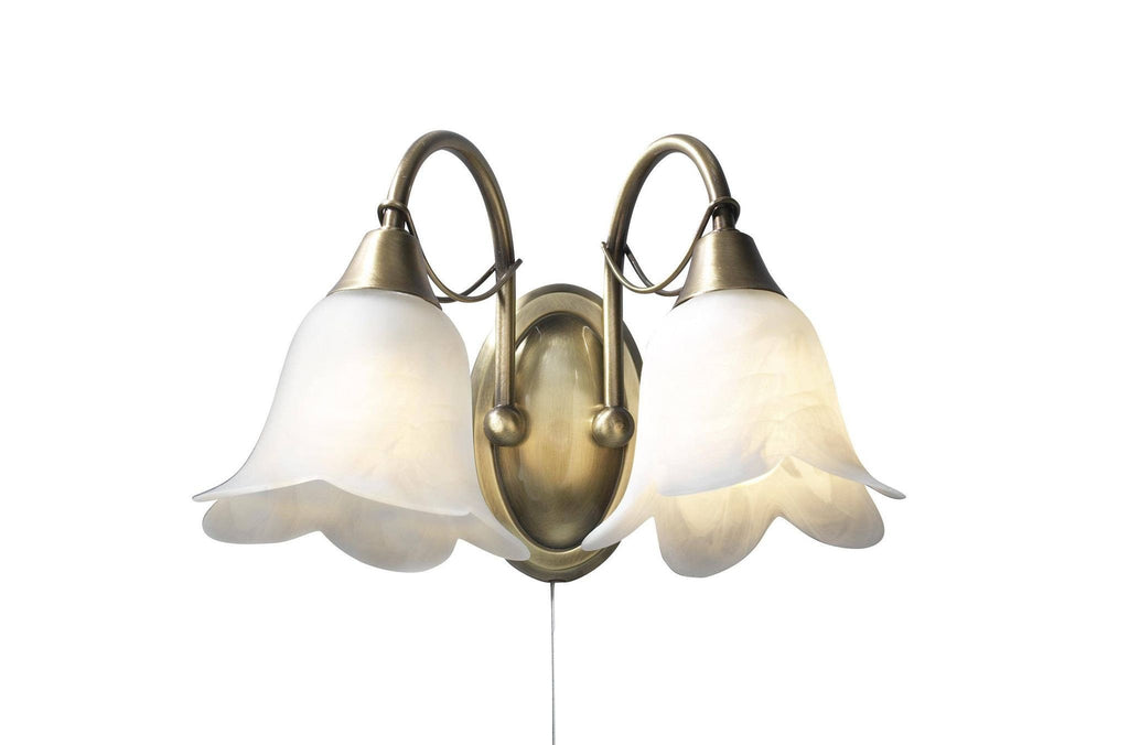 Dar DOU0975 DOUBLET Double Wall Light Antique Brass With Alabaster Glass-DC Lighting Ltd