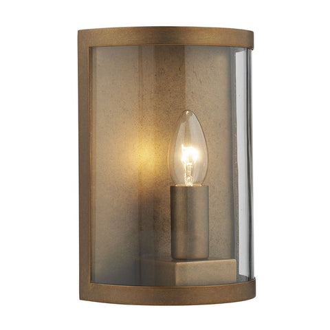 Dar DUS2142 Dusk 1 Light Wall Light Natural Brass IP44