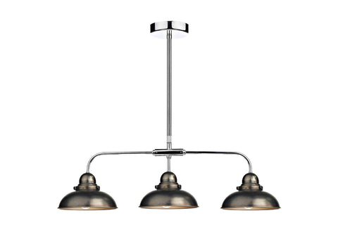 Dar DYN0361 DYNAMO 3lt Bar Pendant Antique Chrome