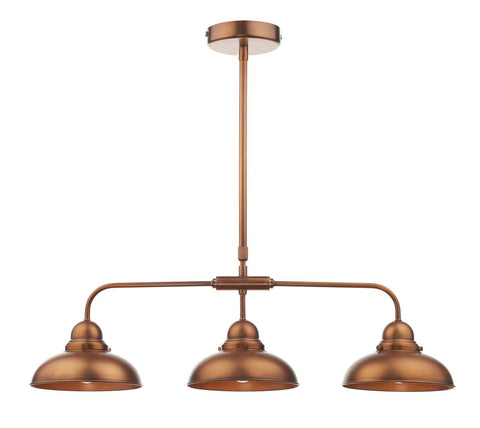 Dar DYN0364 Dynamo 3 Light Bar Pendant Antique Copper