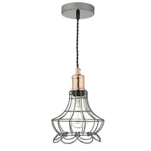 Dar GIN0167 Ginny 1Lt Pendant Black Chrome/Copper