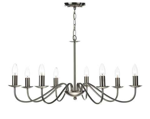 Dar IRW0846 Irwin 8 Light Pendant Dual Mount Satin Chrome