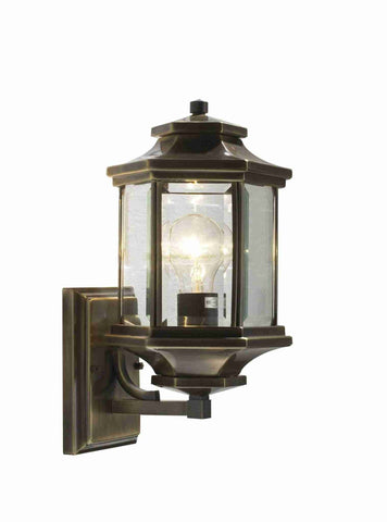 Dar LAD1675 LADBROKE Lantern Antique Brass With Bevelled Glass