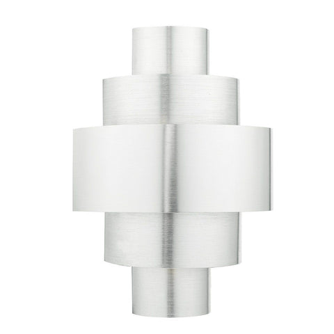 Dar LEW0768 Lewis 1lt Tiered Deco Wall Light Brushed Aluminium