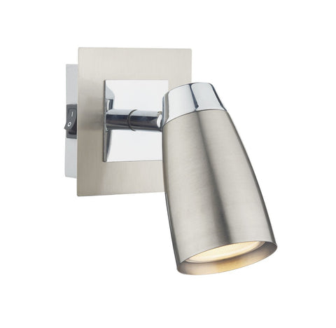 Dar LOF0746 Loft 1 Light Low Energy Spot Switch Satin Chrome/ Polished Chrome