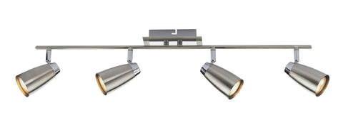 Dar LOF8446 Loft 4 Light Low Energy Bar Satin Chrome/ Polished Chrome