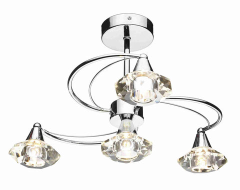 Dar LUT0450 LUTHER 4lt Semi Flush With Crystal Glass Polished Chrome