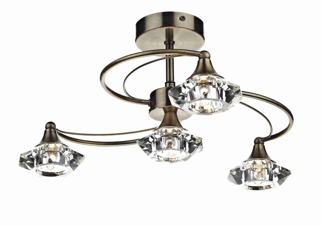 Dar LUT0475 LUTHER 4lt Semi Flush With Crystal Glass Antique Brass-DC Lighting Ltd