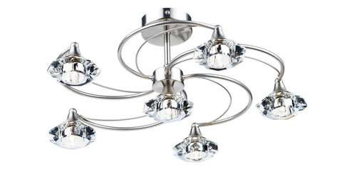 Dar LUT0646 Luther 6 Light Semi Flush complete with Crystal Glass Satin Chrome