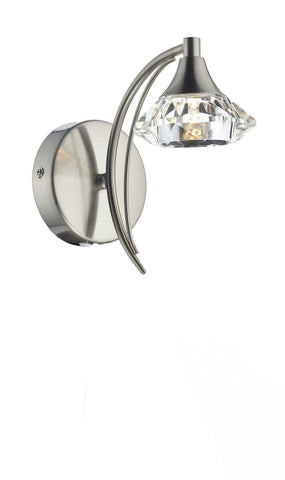 Dar LUT0746 Luther Single Wall Bracket complete with Crystal Glass Satin Chrome