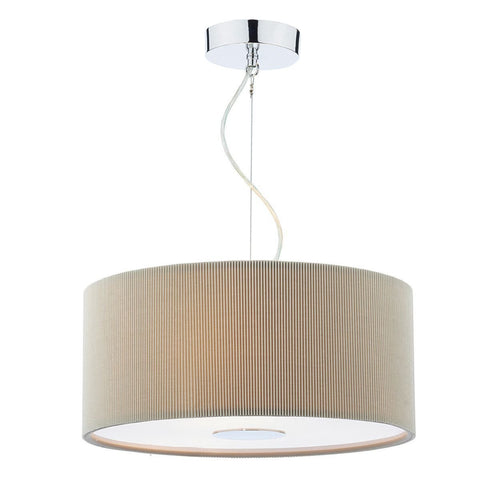 Dar MAU1039 Maurice 3 Light Pendant 400mm Micropleat Putty
