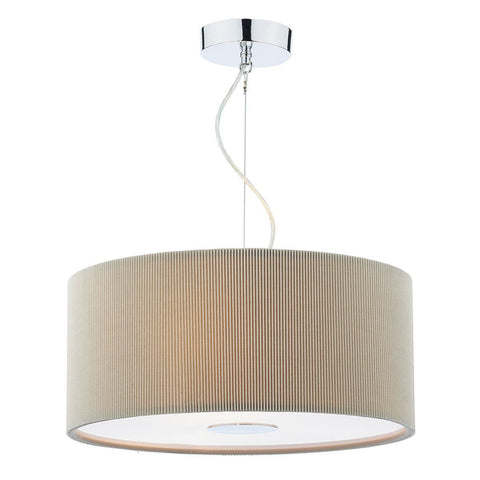 Dar MAU1739 Maurice 3 Light Pendant 600mm Micropleat Putty