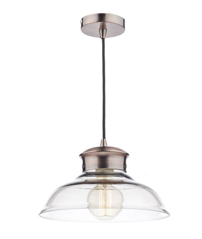Dar SIR0164 Siren 1 Light Pendant Glass/Copper