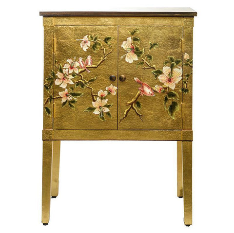Dar The India Collection 001ISR001 Isra Cabinet Gold Leaf And Bird