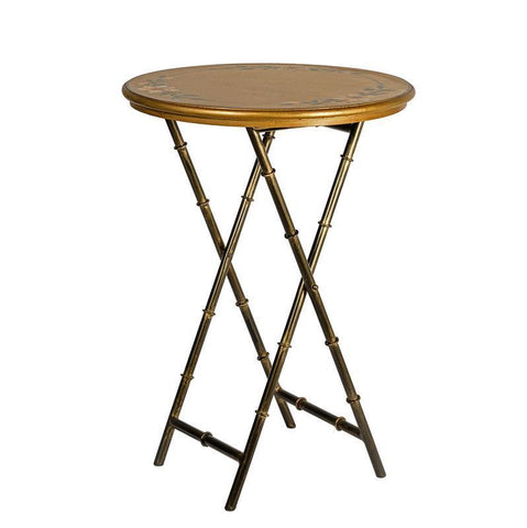 Dar The India Collection 001ISR002 Isra Round Side Table Gold Leaf