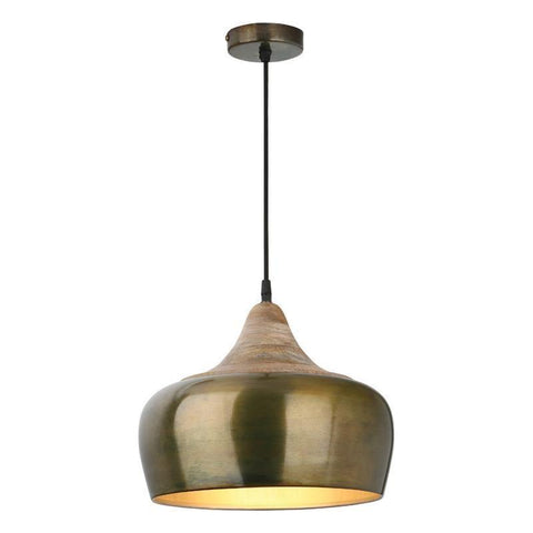 Dar The India Collection AMI0135 Amiel 1 Light Pendant Dark Gold Real Wood