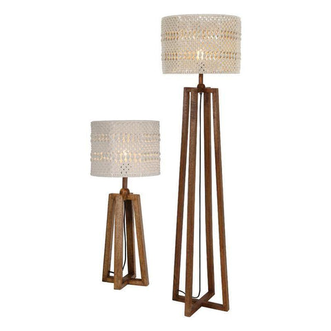 Dar The India Collection DEV4943 Devyn Table Lamp & Floor Lamp Twin Shades