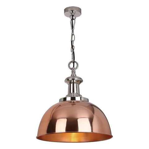 Dar The India Collection SYL0164 Sylvie 1 Light Pendant Copper Nickel