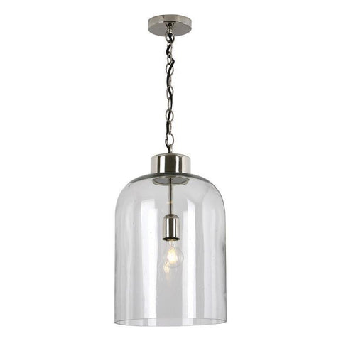 Dar The India Collection TAL0138 Tala 1 Light Pendant Polished Nickel Seeded Glass