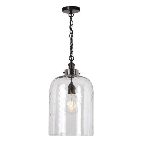 Dar The India Collection TIG0163 Tigoda 1 Light Pendant Dark Bronze Dimpled Glass