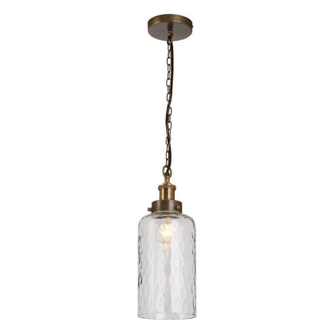 Dar The India Collection VIG0175 Vigo 1 Light Pendant Antique Brass Dimpled Glass