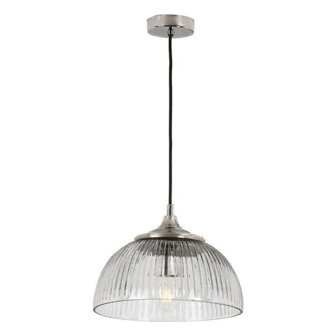 Dar The India Collection YAM0138 Yambol 1 Light Pendant Nickel Clear