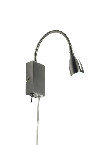 Dar UNO0746 UNO LED Flexi Reading Light Satin Chrome With Optional UK 3-Pin Plug