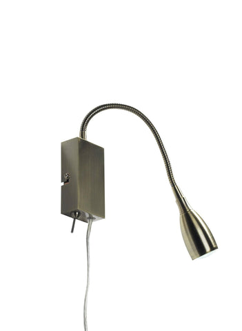 Dar UNO0775 UNO LEDI Flexi Reading Light Antique Brass With Optional UK 3-Pin Plug