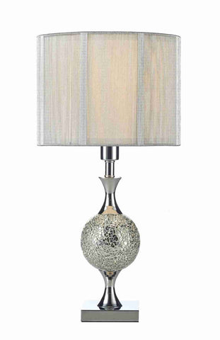 Dar Wisebuys ELS4239 Elsa Table Lamp Silver Mosaic complete with Silver String Shade
