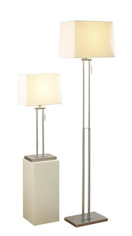 Dar Wisebuys PIC4946 Picasso Floor Lamp & Table Lamp Twin Satin Chrome